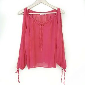 Umgee // Coral Long Sleeve Studded Open Arm Top